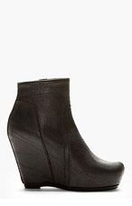RICK OWENS Black Leather Wedge Boots for women
