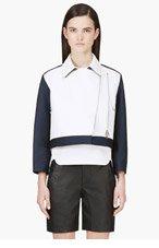 3.1 PHILLIP LIM Navy Leather-paneled Boxy Jacket for women