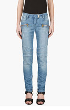 BALMAIN Blue distressed Biker Jeans for women