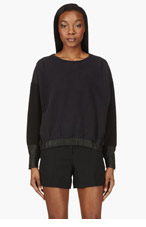 AVELON Black leather-trimmed Maidenly Top for women