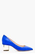 NICHOLAS KIRKWOOD Blue Suede Metallic Heel Pumps for women