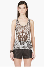 BALMAIN Black & White Linen Lion Graphic Tank Top for women