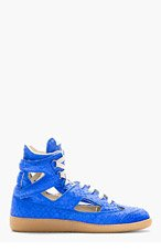 MAISON MARTIN MARGIELA Electric Blue leather Cut-out High-top Sneakers for women