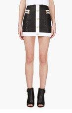 BALMAIN Black & White Woven Mini Skirt for women