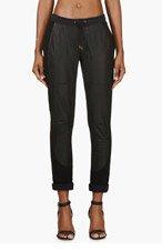 AVELON Black Lambskin Panel Wanton Lounge Pants for women