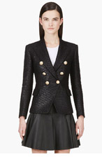 BALMAIN Black Structured Woven Blazer for women