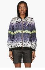 AVELON Purple & Yellow Print Cosmonogy Bomber Jacket for women
