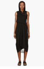 RICK OWENS Black draped & gathered Tornado Dress for women