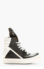 RICK OWENS Black & Ecru Geobasket High Top Sneakers for women