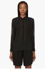 AVELON Black Semi-Sheer Glimpsed Blouse for women