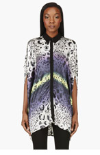 AVELON Purple & Black Print Dolman Sleeve Blouse for women