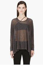 HELMUT LANG Grey Dolman Sleeve Sheer Knit Top for women