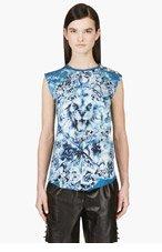 BALMAIN Blue Lion Graphic Tank Top for women