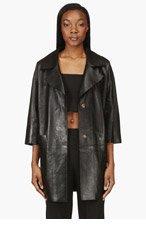 AVELON Black Leather Oversize Iceblack Coat for women