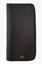 A.P.C. Black Leather Compagnone Travel Wallet for women