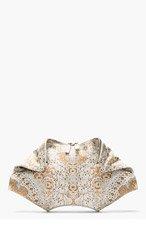 ALEXANDER MCQUEEN Ivory Lace Print De Manta Clutch for women