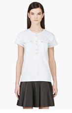 BALMAIN Mint Ribbed Shoulder T-Shirt for women