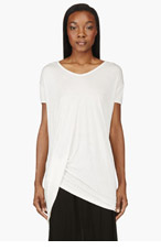RICK OWENS Ivory white folded-hem t-shirt for women