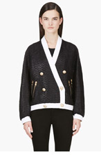 BALMAIN Black & White Woven Jacket for women