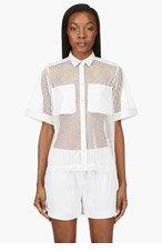 AVELON White Mesh & Leather Short Sleeve Blouse for women