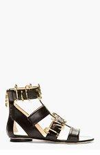 VERSUS Black Zip-Up Gladiator Sandals for women
