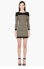 BALMAIN Black & Gold Striped Dress for women