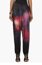 AVELON Black & Pink Silk Cosmic Tousled Pants for women