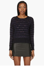 AVELON Black & purple Threaded Cutout sweater for women