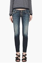 DSQUARED2 Blue distressed Desert Storm Wash Skinny Jeans for women