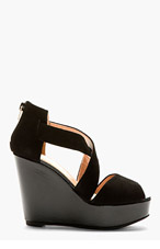 ROBERT CLERGERIE Black Suede Borset Wedge Sandals for women