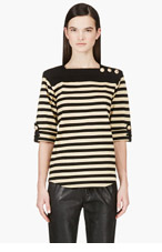 BALMAIN Black & Gold Striped Top for women