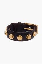 SAINT LAURENT Black leather Classic studded bracelet for women