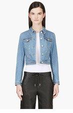 VERSUS Blue & Gold studded denim jacket for women