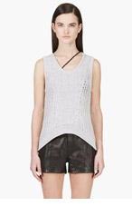 HELMUT LANG Grey Open Knit Tank Top for women