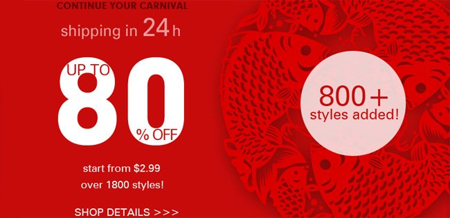 ♥ Start from $2.99 & Up to 80% Off over 1800 styles