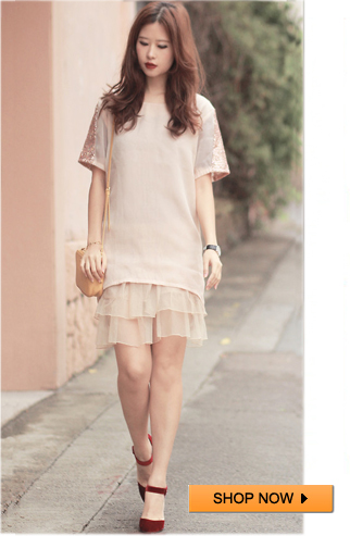 Gold Sequined Short-sleeved Nude Blouse