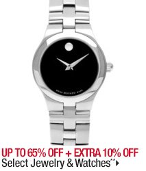 Up to 65% off + Extra 10% off Select Jewelry & Watches**