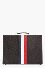 THOM BROWNE Black Pebbled Leather Stripe Briefcase for men