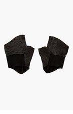 JULIUS Black Leather Fingerless Gloves for men