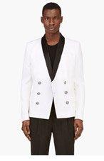 BALMAIN Ivory Double Breasted Blazer for men