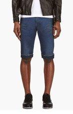 BALMAIN Indigo Cut-Off Jean Shorts for men