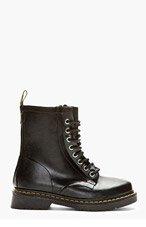 DR. MARTENS Black Rubber 8-Eye Drench Boots for men