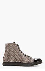 MARC JACOBS Brown Jacquard Patent Cap Sneakers for men