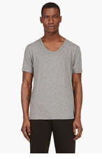 T BY ALEXANDER WANG Heather grey classic Scoopneck T-shirt for men