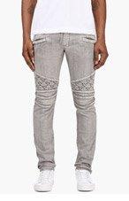 BALMAIN Grey Washed Biker Jeans for men