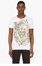 BALMAIN Ivory Lion Print Scoop-Neck T-Shirt for men