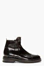 JUUN.J BLACK Leather Paneled BOOTS for men