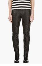 SAINT LAURENT Black Faux Leather Jean Cut Pants for men