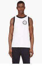 BALMAIN White Cotton Piqu&eacute Lion Logo Tank for men