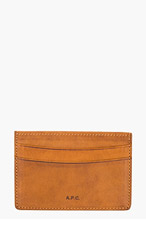 A.P.C. Brown Leather LOGO CARD HOLDER for men